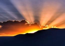 God's light breaking over the horizon